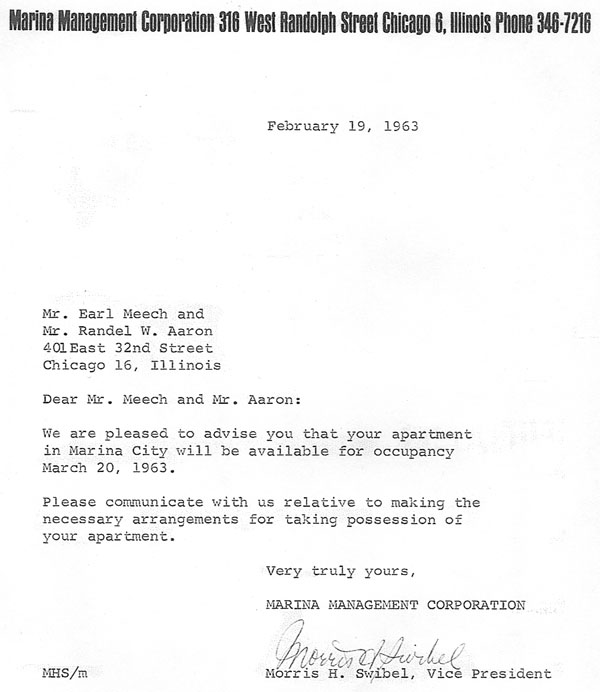 Marina city history moving day february 19 1963 letter from morris swibel to earl meech and randel aaron ccuart Gallery